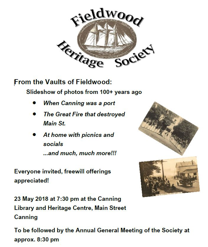 Fieldwood Heritage Society in Canning, NS poster