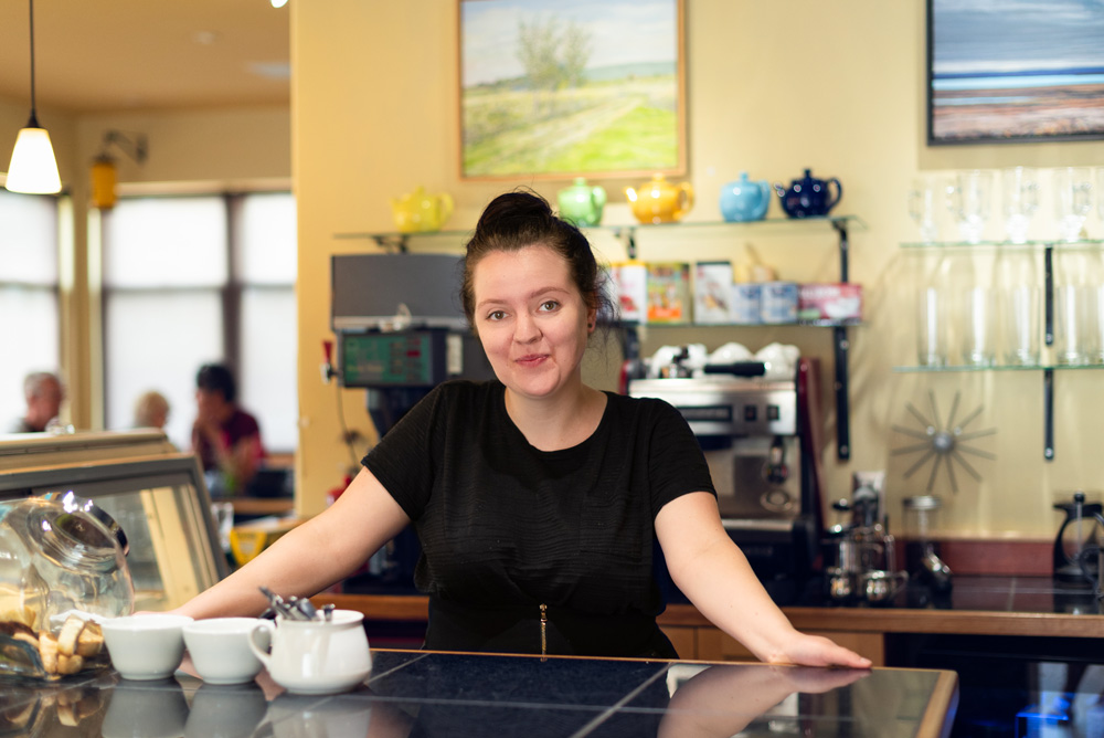 Michaela Hayes, chef, baker, and barista at ArtCan Café and Gallery.