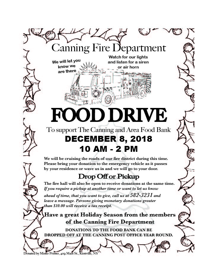 Canning Fire Dept Food Drive